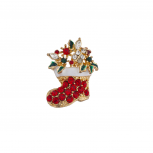 Holiday Christmas Xmas Crystal Rhinestone Stocking Brooch Pin