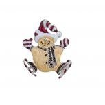 Holiday Christmas Xmas Cute Skiing Glitter Snowman Brooch Pin