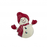 Holiday Christmas Xmas Red White Enamel Snowman Pin Brooch