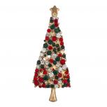 Holiday Red Green Crystal Rhinestone Christmas Xmas Brooch Pin