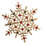 Holiday Christmas Winter Snowflake Green Rhinestone Brooch Pin