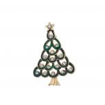Holiday Green Enamel Crystal Rhinestone Christmas Brooch Pin