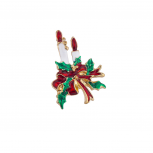 Holiday Christmas Xmas Red White Green Candle Bow Brooch Pin