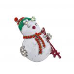 Holiday Christmas Xmas Winter Glitter Snowman Brooch Pin