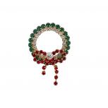 Holiday Christmas Red Green Crystal Rhinestone Wreath Brooch Pin