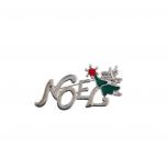 Holiday Christmas Xmas Tree Silver Tone Noel Brooch Pin