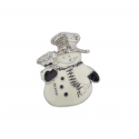 Holiday Christmas Winter Black White Snowman Brooch Pin