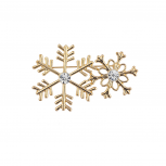 Holiday Christmas Gold Tone Double Snowflake Crystal Brooch Pin