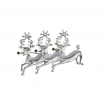 Holiday Christmas Xmas Silver Tone Reindeer Crystal Brooch Pin