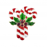 Christmas Xmas Holiday Triple Candy Cane Mistletoe Brooch Pin