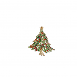 Christmas Xmas Holiday Goldtone Red and Green Tree Brooch Pin