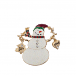Christmas Xmas Holiday Glitter Snowman Love Joy Brooch Pin