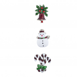 Silver Tone Holiday Snowman Candy Cane Brooch Pin Set (3PCS)