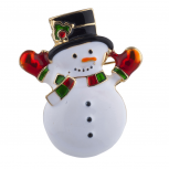 Gold Tone White Snowman Black Green Red Christmas Winter Brooch