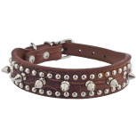 Brown Crocodile Leather Silver Spike Stud Cat Dog Collar