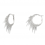 Silver Tone Crystal Cupchain Double Row Spike Hoop Earrings