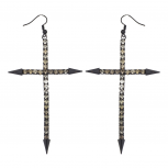 Edgy Jet Black and Champagne Rhinestone Large Cross Earrings