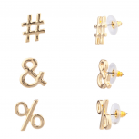 Hashtag & # % Percent Symbol Stud Earrings Set