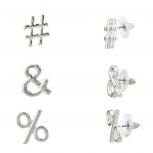 Hashtag & # % Percent Symbol Stud Earrings Set.