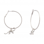 Dinosaur Brontosaurus Zoo Animal Hoop Earrings.