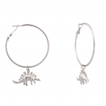 Dinosaur Stegosaurus Zoo Animal Hoop Earrings.