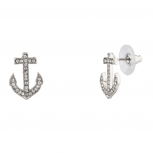 Crystal Pave Anchor Refuse To Sink Stud Earrings.