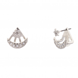 Pave Crystal Galaxy Star Crescent Moon Stud Earrings.