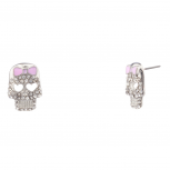 Pave Crystal Heart Skull Pink Bow Stud Earrings.