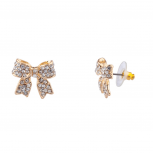 Pave Crystal Simple Delecate Bow Stud Earrings Women's Kids & Girls