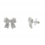 Pave Crystal Simple Delecate Bow Stud Earrings Women's Kids & Girls.