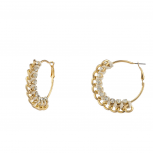 Goldtone and Rhinestone Curb Chain Tan Corded Hoop Earrings