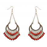Red Chandelier Dangle Earrings
