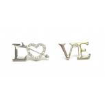 Love Rhinestone Heart Arrow Stud Earrings