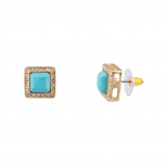 Crystal Pave Turquoise Simple Square Stud Earrings