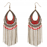 Red & Burnished Gold Pave Beaded Fringe Dangle Statement Earrings