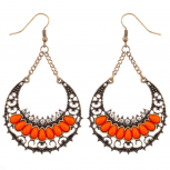 Orange Pave Half Moon Dangle Statement Earrings