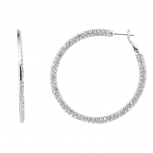 Simple Elegant Pave Crystal Hoop Earrings.