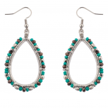 Teardrop Turquoise Beaded Dangle Earrings