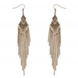 Tribal Diamond Fringe Dangle Earrings