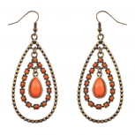 Orange & Burnished Gold Tear Drop Statement Earrings