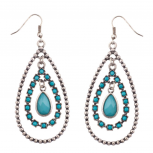 Turquoise & Silver Tear Drop Statement Earrings