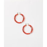 Coral Facet Hoop Earrings