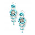 Turquoise Flower Floral Burst Earrings