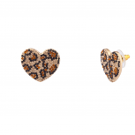 Leopard Print Pave Crystal Animal Heart Stud Earrings
