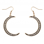 Galaxy Crescent Moon Pave Crystal Dangle Earrings