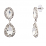 Teardrop Tear Drop Pave Crystal Bridal Dangle Earrings.