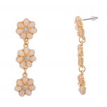 Tiered Floral Peach Flower Crystal Dangle Earrings