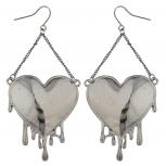 Edgy Hematite Bleeding Hearts Dripping Heart Dangle Earrings