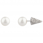 Faux Pearl Crystal Spike Pave Stud Earrings