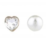 Gold Tone Faux Pearl Heart Vday Double Side Front Back Earrings